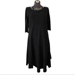 Eileen Fisher Wool Long Dress Black Scoop Neck XL